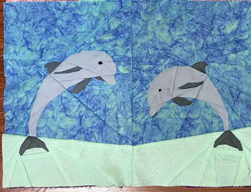 Two Dolphins Jumping Foundation Paper Piecing Pattern