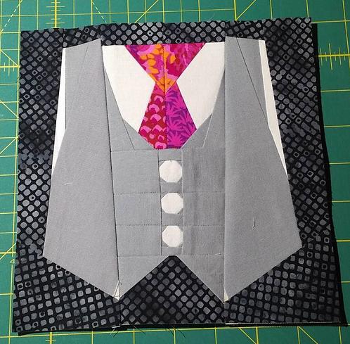 Vest and Tie Foundation Paper Piecing Pattern