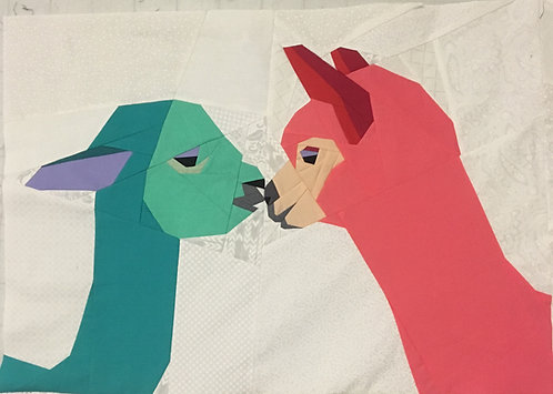 Alpacas Kissing Foundation Paper Piecing Pattern
