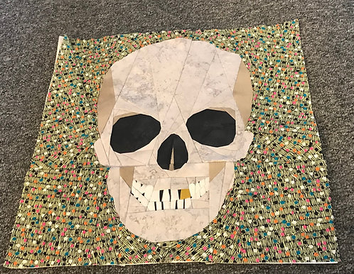 Full Skull Front View Foundation Paper Piecing Pattern
