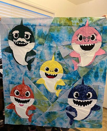 SMALL SIZE Baby Shark Family Foundation Paper Piecing Pattern