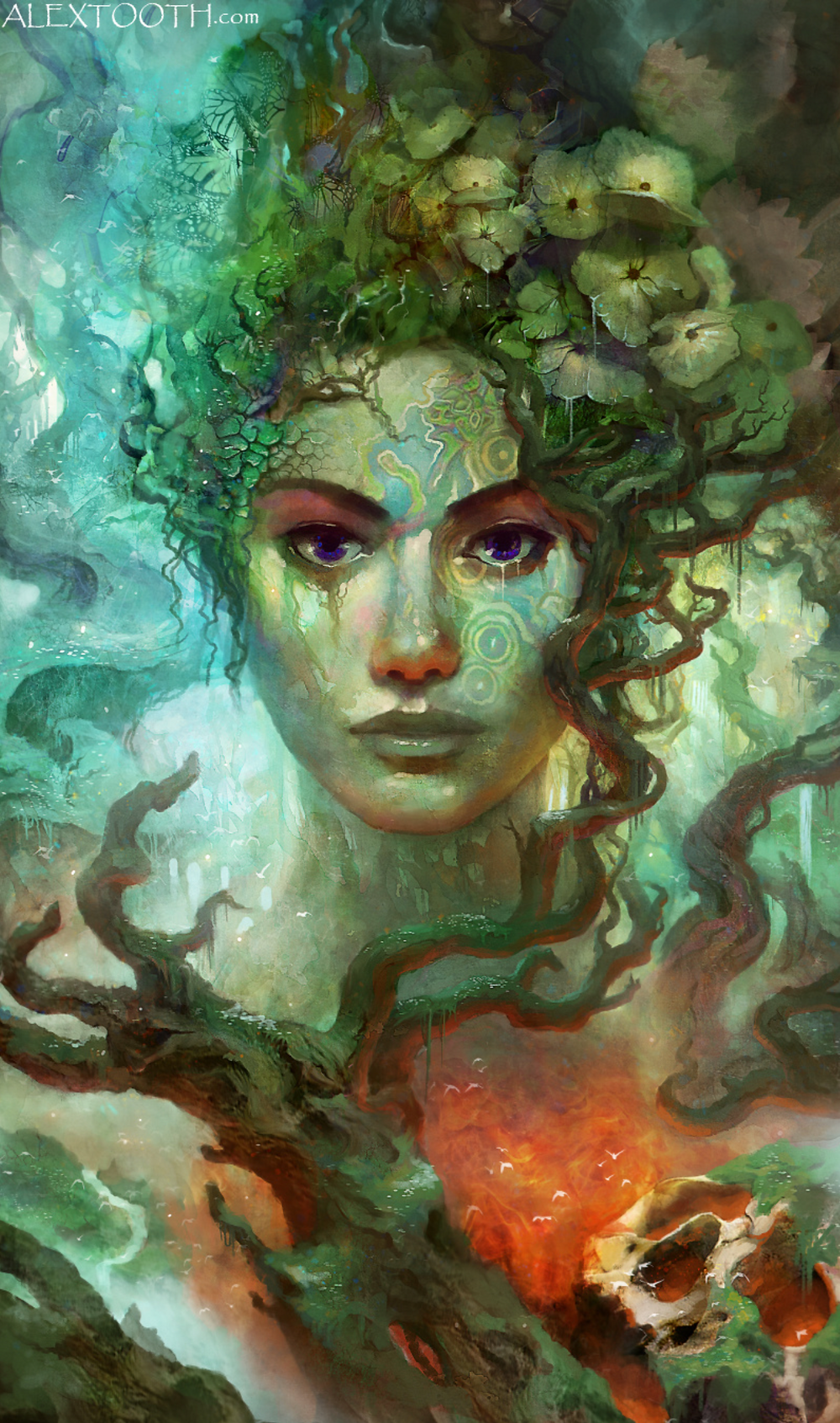 Psychedlic Picture of woman in greens and blues with a sultry look on her face and flowers in her hair