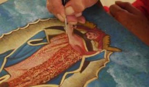 Pintura al temple y hoja de oro líquida