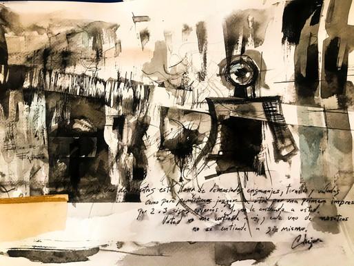 Jugando con tinta china, goache y collage