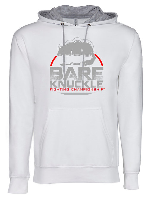Bare Knuckle FC Circle Logo French Terry Hoodie - White/Gray/Red