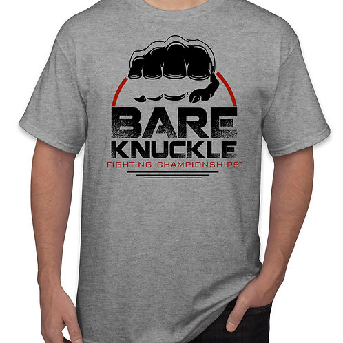 Bare Knuckle FC Circle Logo Shirt - Gray/Black/Red