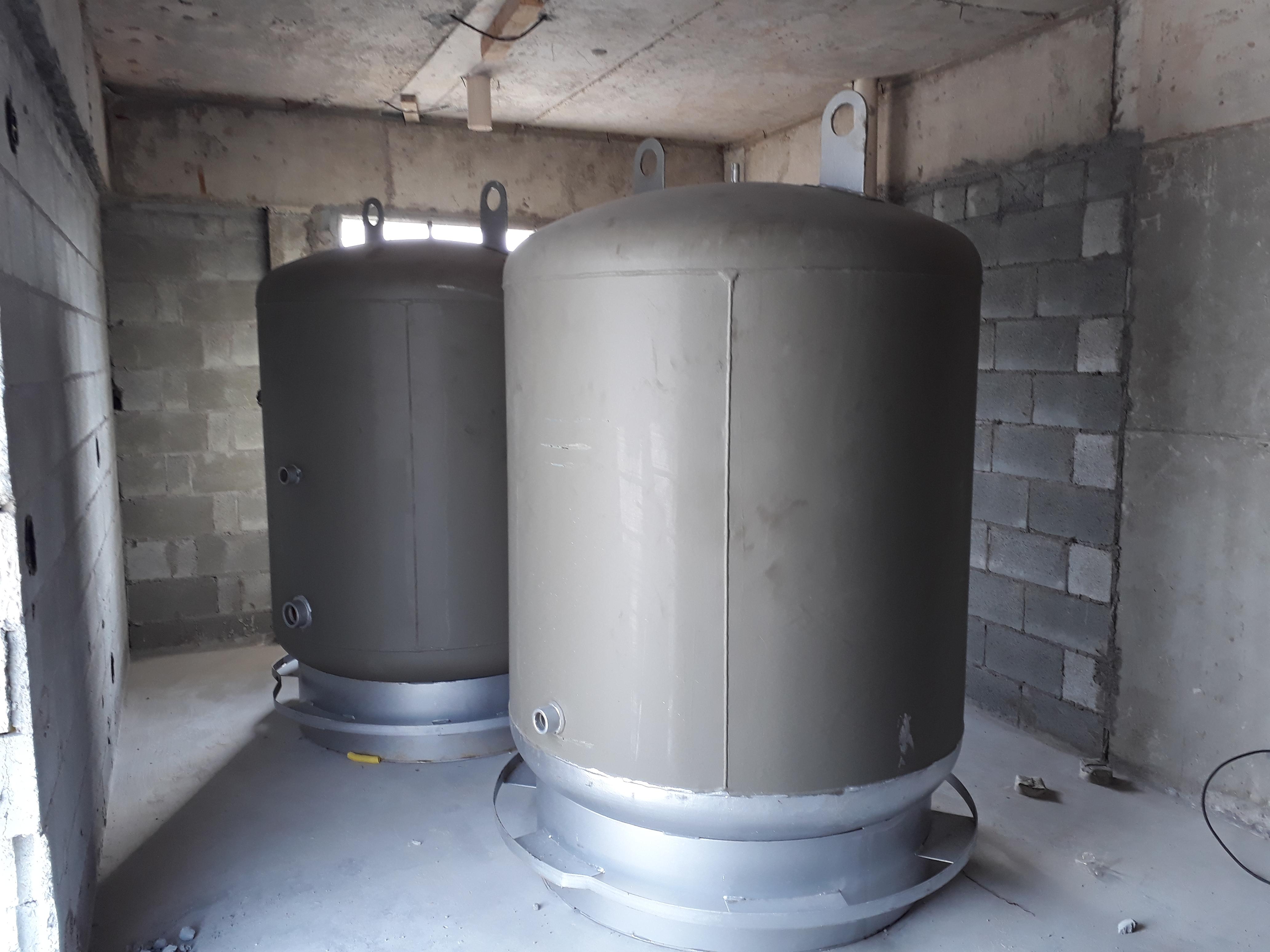 Colocação dos tanques para aquecimento s
