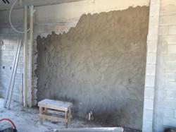 Aplicação de massa nas paredes