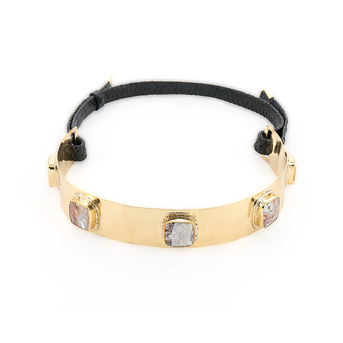 La Pedra Mexican Agate stone belt in black braided leather