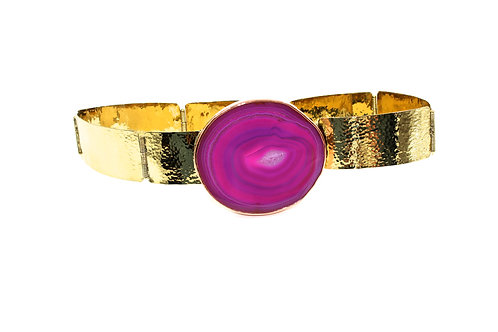 Leah Pink agate stone and brass belt