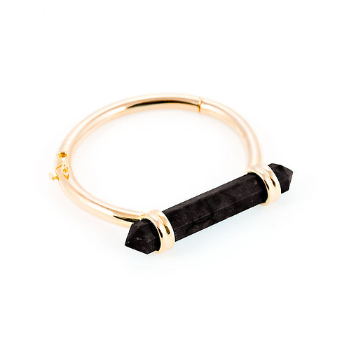 Midnight black agate gold bracelet