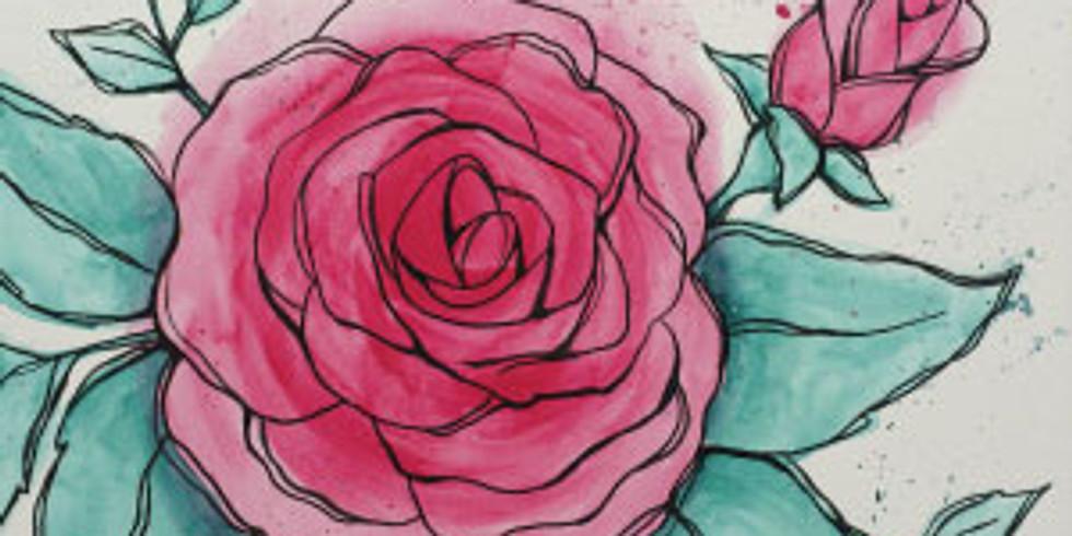 Watercolor Rose (paint night)
