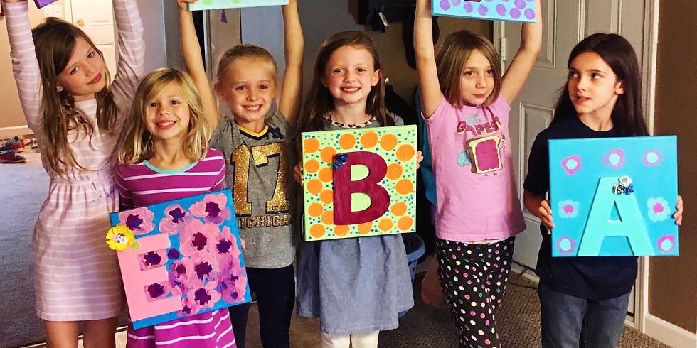 Initial Art on Canvas (kids+tween)
