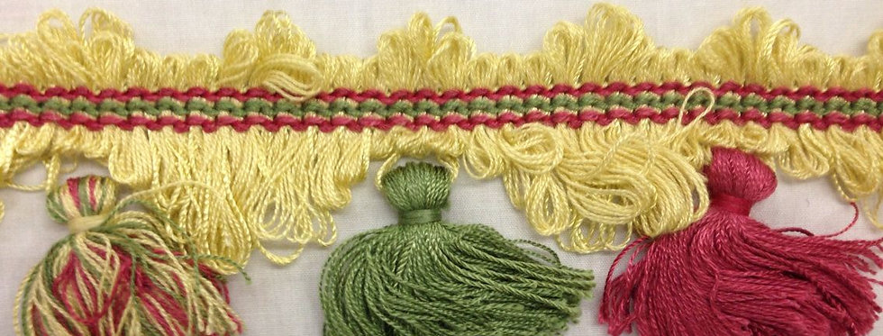 Bright Tassel Fringe Yellow Green and Pink