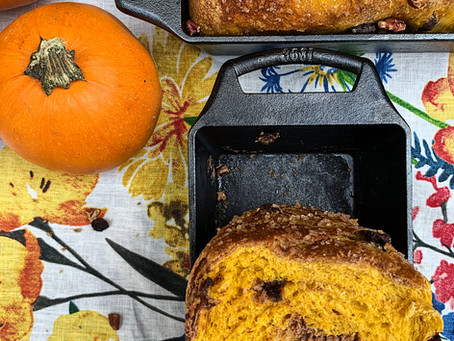 Recipe: Pumpkin and Chocolate Sourdough Loaf baked in Lodge Cast Iron Loaf Pan