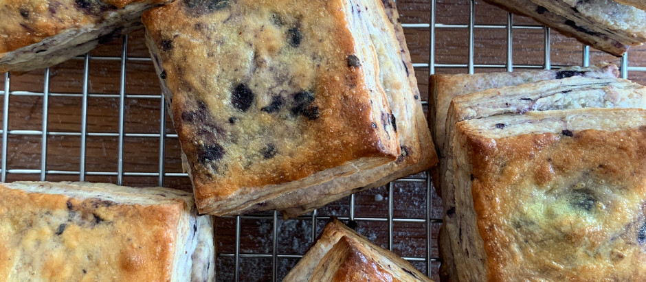 The Flaky Biscuit: Sourdough Discard, Eggnog, and Blueberry