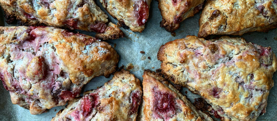 Sourdough Discard Strawberry and Pecan Scones