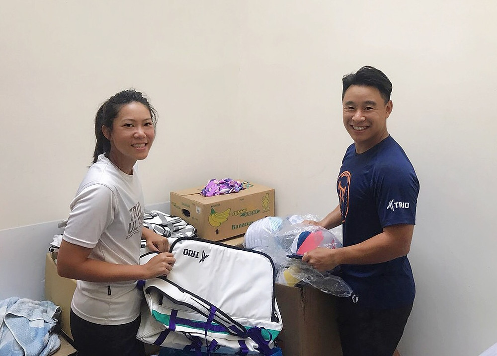 Eeva Chiam and Ben Ong, two of the founders of TRIO, which manufactures a wide range of sports apparel and gear.