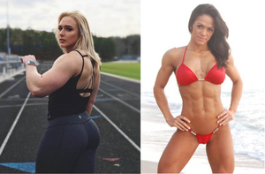 (R) Charity Witt, a strongwoman and (L) Soleivi Hernandez, a bodybuilder, differ in body images and strength.