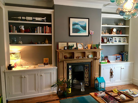 built-in pair of Victorian style 3 door alcove cupboards and bookcases