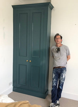 built-in traditional 2 door alcove wardrobe