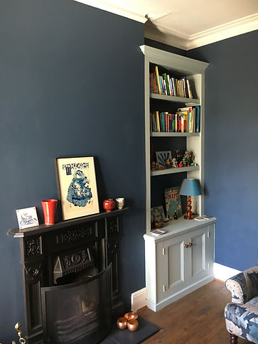 built-in classic, painted alcove cupboard and bookcase