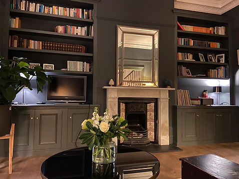 built-in pair of three door alcove cupboards and bookcases Victorian style