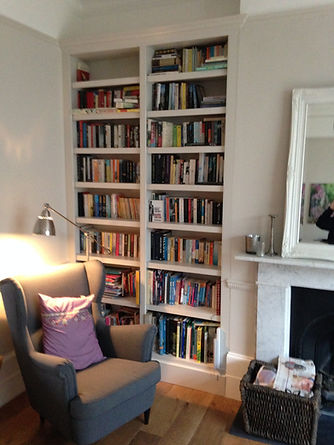 built-in classic painted split alcove bookcase