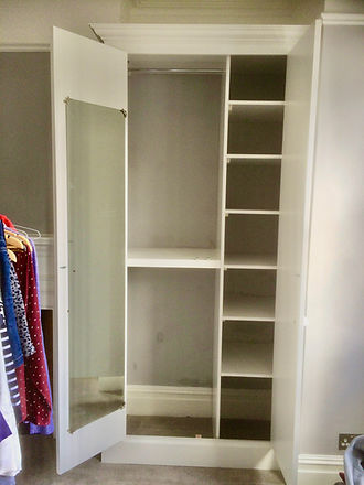 wardrobe interior shelving layout