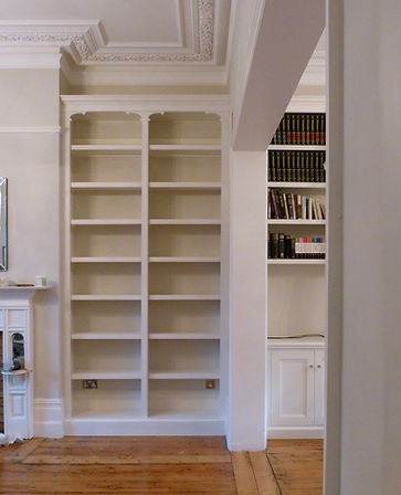 built-in alcove bookcase and cupboard