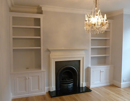 built-in pair of Victorian style 2 door alcove cupboards and bookcases