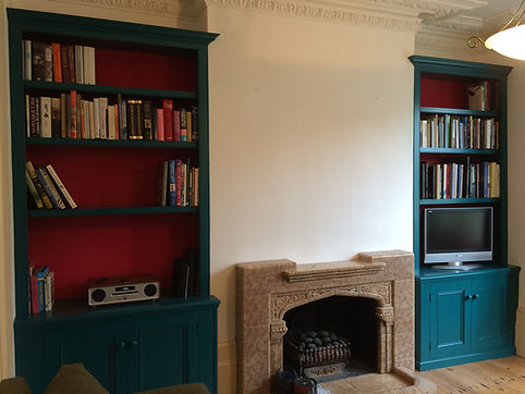 built-in traditional Victorian style pair of alcove cupboards and bookcases