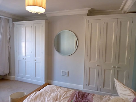built-in pair of 3 door traditional wardrobes