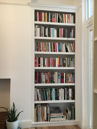 built-in alcove bookcase