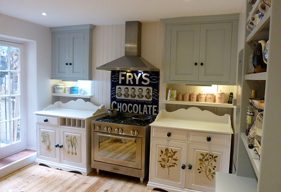 built-in high alcove cupboards and shelving in kitchen