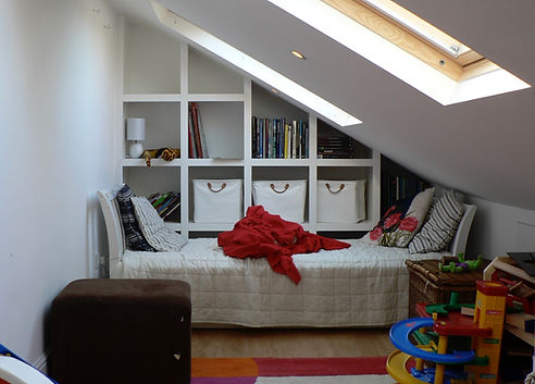 built-in cubby hole, modern shelving in sloping roof bedroom