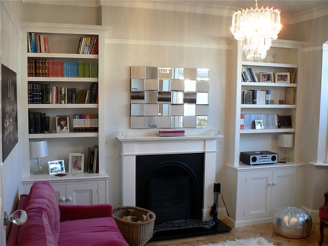 built-in pair of traditional Victorian style 2 door alcove cupboards and bookcases