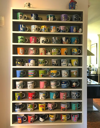 wall mounted, painted,display shelving unit for cups