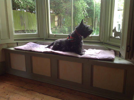 built-in window seat, dog seat, for storage