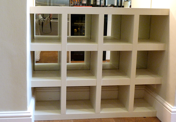 built-in pigeon-hole chunky kitchen unit for storage and display
