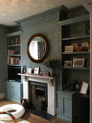 built-in pair of Victorian style, traditional, 2 door alcove cupboards and bookcases