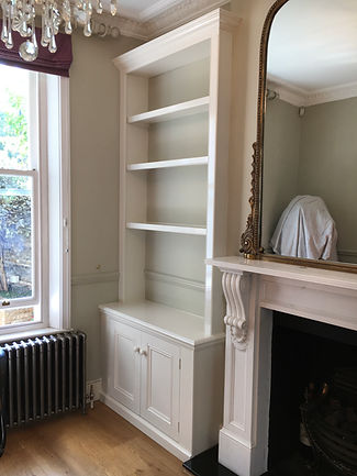 built-in Victorian style 2 door alcove cupboard and bookcase