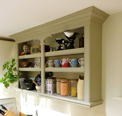 built-in decorative kitchen shelving unit