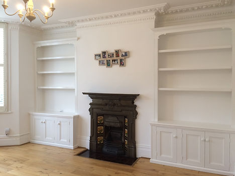 built-in pair of traditional Victorian style 3 door alcove cupboards and bookcases
