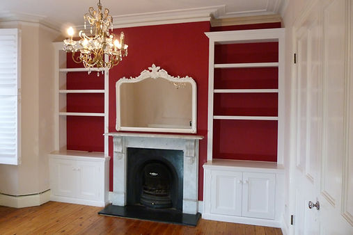 built-in pair of Victorian style alcove cupboards and bookcases