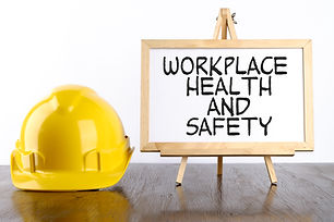 Safety helmet and white board with words