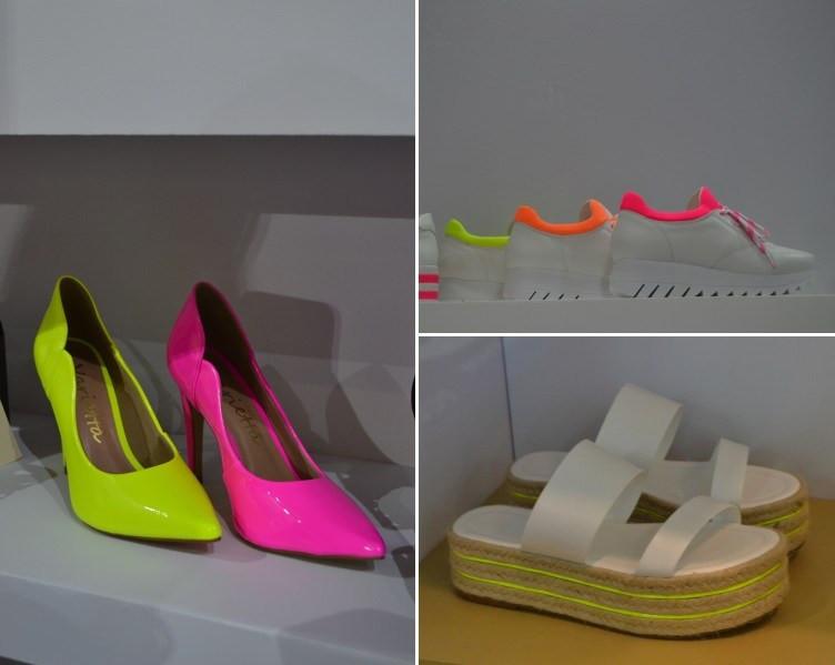 Sapatos expostos na Feira Couromoda