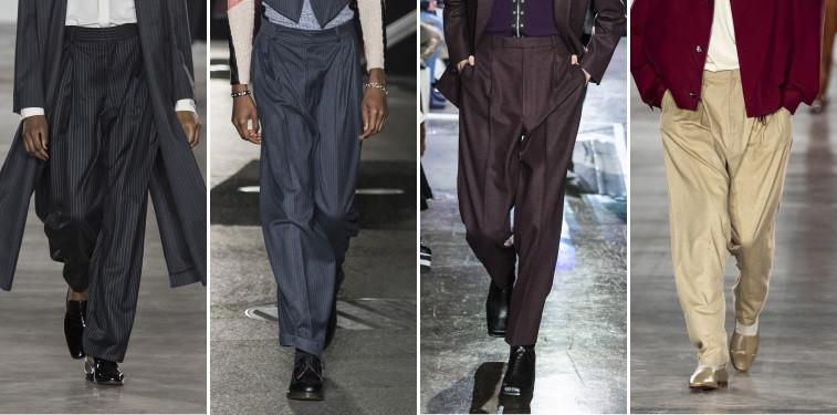 Modelos usando calças de alfaiataria amplas