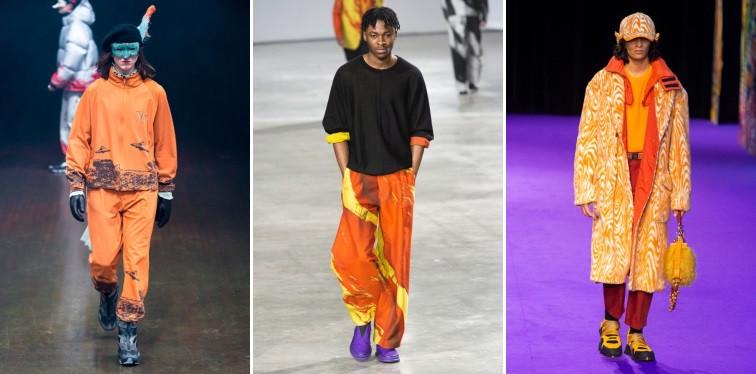 Modelos usando roupas laranjas