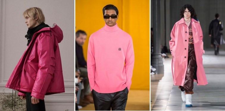 Modelos usando casacos amplos rosa